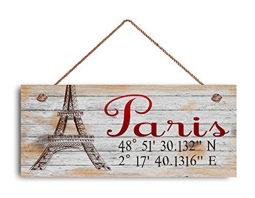 bawansign Paris Sign Latitude Longitude Sign 6 x 14 Rustic Sign Eiffel Tower GPS Coordinates Travel Sign Wood Signs for Home Decor Quote Garden Plaque Sign