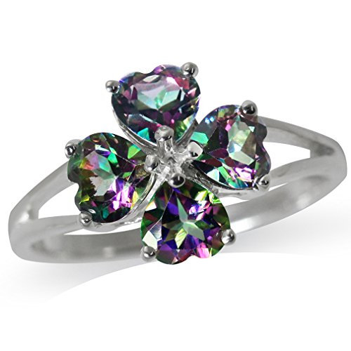 2.16ct. Heart Shape Mystic Fire Topaz 925 Sterling Silver Clover Ring Size ()