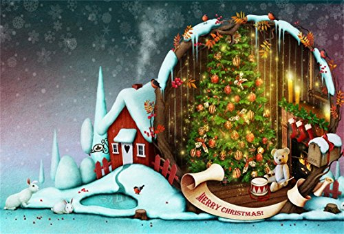 CSFOTO 5x3ft Background for Fantasy Christmas Night Photography Backdrop Merry Christmas New Year Xmas Tree Bunny Tady Bear Fireplace Snowflake Holiday Child Photo Studio Props Polyester Wallpaper ()