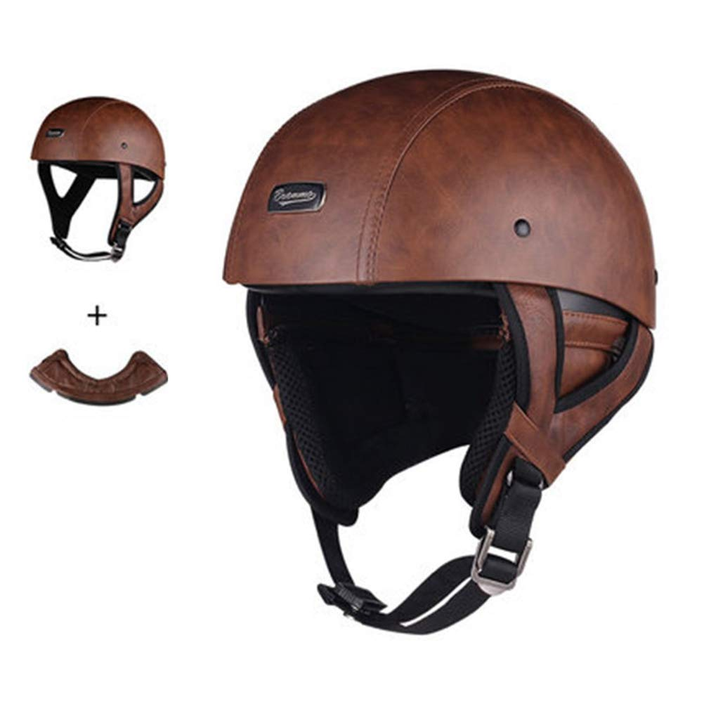 Retro In pelle Pilota Moto Casco Mesh Cotton Lining Adulti Harley Motocross Casco Stagioni Universale ClassicO Half Face Motorbike Helmet
