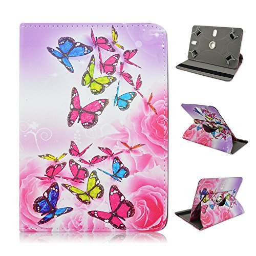 "Ematic Genesis Prime 8"" 8 inch Tablet Pink Butterflies Universal Case Cover - Adjustable 360 Rotating Stand Design -  EZBazar"