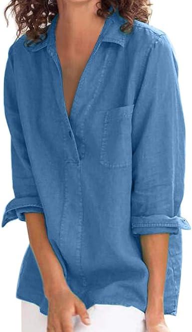 Sylar Camisa Mujer Manga Larga Casual Camisa De Mujer Color Sólido Suelto Camisetas Mujer con Botones Camisetas De Mujer Solapa Tops Blusa Mujer Elegante Manga Larga Otoño: Amazon.es: Ropa y accesorios