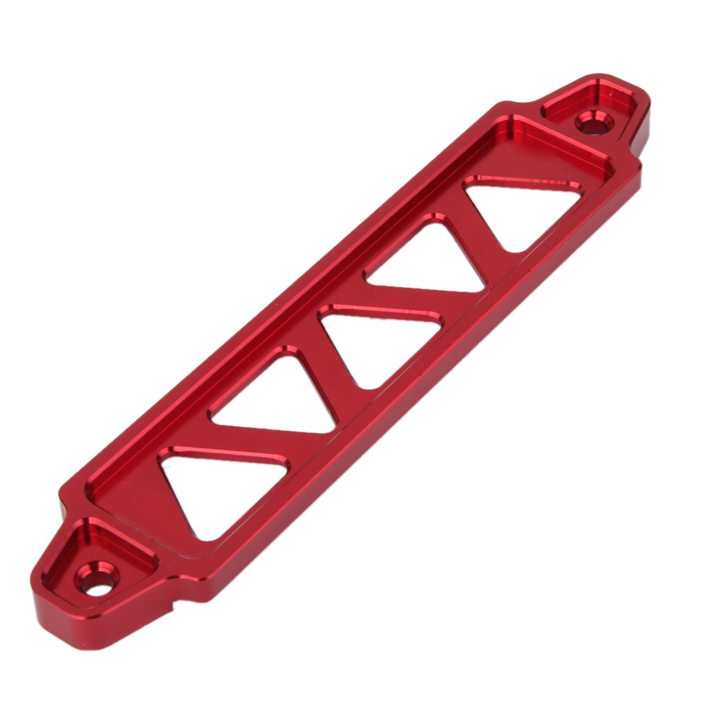 Shiwaki 218mm Aluminum Car Battery Tie Down Mount Bracket Brace Long Bar Kit Red