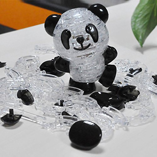 (Lulujan DIY 3D Cartoon Panda Jigsaw Puzzle Crystal Assembly Model Building Block Toy Set Night Light Decor Collection Gift for Kids)
