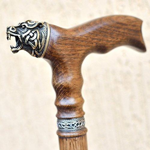 Luxury Walking Cane NORSE BEAR - Carved Wooden Sticks 36 inch