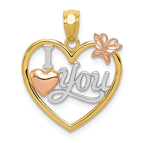 14k Yellow Rose I Love You In Heart Butterfly Pendant Charm Necklace Fine Jewelry Gifts For Women For Her - Heart Rose Tattoo Dress