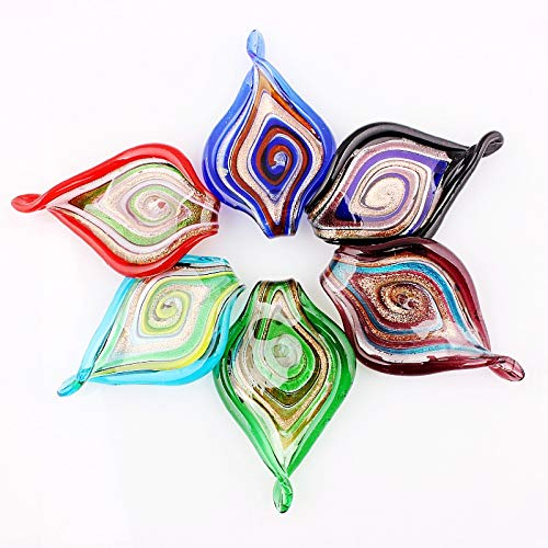 Handmade Glass Pendant 6Pcs Handmade Murano Lampwork Glass Mix Color Big Leaves Pendant Fit Necklace Jewelry Gifts
