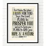Vintage Bible Upcycled page verse scripture For I know the Plans Jeremiah 29:11 Christian ART PRINT, UNFRAMED, dictionary wall & home decor poster, Inspirational gift
