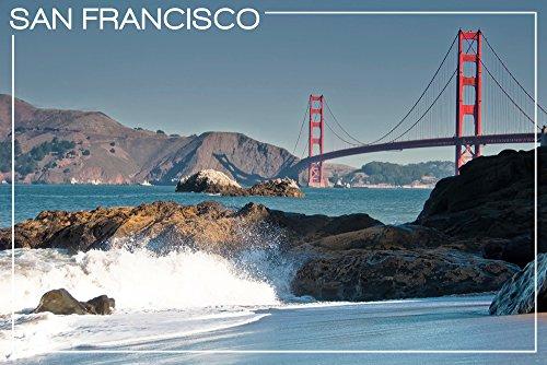 san-francisco-california-golden-gate-bridge-and-beach-12x18-art-print-wall-decor-travel-poster
