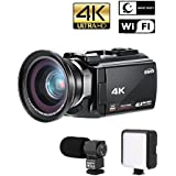 "ROKOO 4K Camcorder, Ultra-HD 48MP 60FPS Digital Wifi Video Camera, Infrared Night Vision Camera 3.0"" Capacitive Touch Screen, with External Microphone Wide Angle Lens and Fill Light"