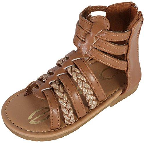 bebe Girls Gladiator Sandals With Glitter Braided Straps, Cognac/Gold, 6 M US Toddler'