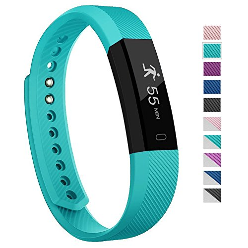Fitness Tracker - 007plus D115 Bluetooth 4.0 Pedometer Sleep Monitor Concise Style Point Touch Activity Tracker (Teal)