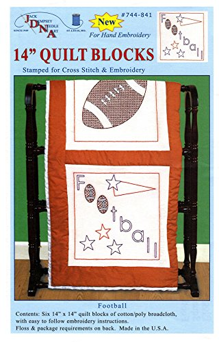 (Jack Dempsey Stamped White Sport Themed Quilt Blocks, 14-Inch by 14-Inch, Football, 6-Pack)