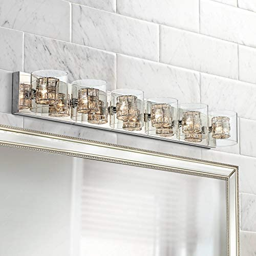 Wrapped Wire Modern Wall Light Polished Chrome Hardwired 47 3 4 Wide 6-Light Fixture Clear Glass for Bathroom Vanity Mirror – Possini Euro Design