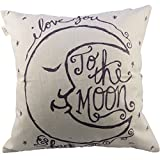 #9: HOSL I love You to the Moon and Back Square Decorative Throw Pillow Case Cushion Cover 17.317.3 Inch (44CM44CM)