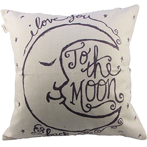 (HOSL I Love You to The Moon and Back Square Decorative Throw Pillow Case Cushion Cover 17.317.3 Inch)