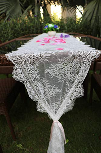 sweet dream White Lace Classic Table Runner 10Ft 16x120inches for Wedding Party, Birthday Party, Boho Party Decor, Baby Shower Bridal Shower Vintage Rustic ()