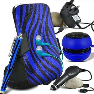 ONX3 Alcatel One Touch Star 6010d Protective PU Leather Slip Zebra cable de tracción en la bolsa del lanzamiento rápido con Mini capacitivo Stylus Pen, 3.5mm en auriculares del oído, mini altavoz recargable Cápsula, 360 Rotación del parabrisas del coche horquilla del sostenedor del montaje, Micro USB CE aprobó 3 Pin Cargador, 12v Micro USB cargador de coche (Azul y Negro)