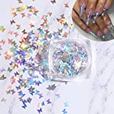 Bonnie-Sam Laser Nail Art Glitter Sequins, 12 boxs, Beautiful Butterfly Star Moon Heart and Flowers for Nail Crafts Face Eyes Body Decor
