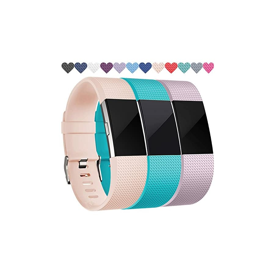 Wepro Replacement Accessory Wristbands Compatible for Fitbit Charge 2 HR, Small, Teal, Blush Pink