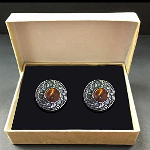 Amber Men's Cufflinks Artistic Decorated Work Handmade Elegant and Vintage style Sterling silver Gemstones Natural Gifts ()