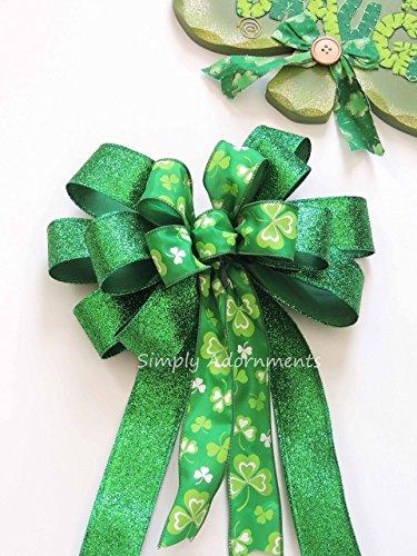 St Patrick's Wreath Bow Kelly White Shamrock Wreath Bow Irish Wedding Decorations Kelly Green Shamrock Bow St Patrick swag Bow Saint Patrick Gift Bow -