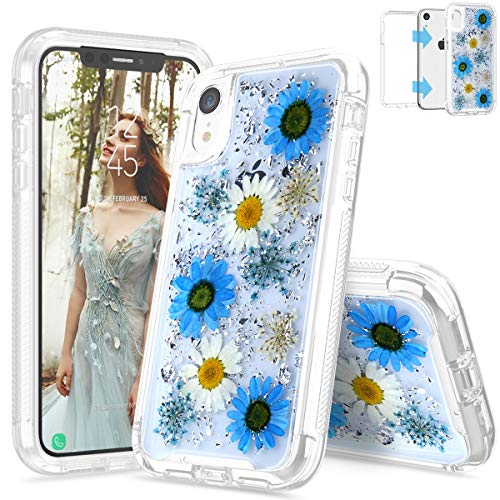 SEYMAC iPhone XR Flower Case for Girls, Dual Layer Hybrid Protection Case with Real Dried Pressed Flower for iPhone XR 6.1