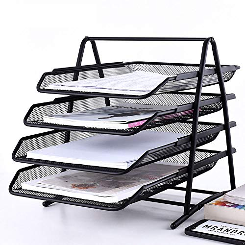Shelf houlian shop1 Office Supplies A4 Metal File Holder Desktop Storage Box File Tray Grid Four-Layer File Rack Storage Tray Data Basket