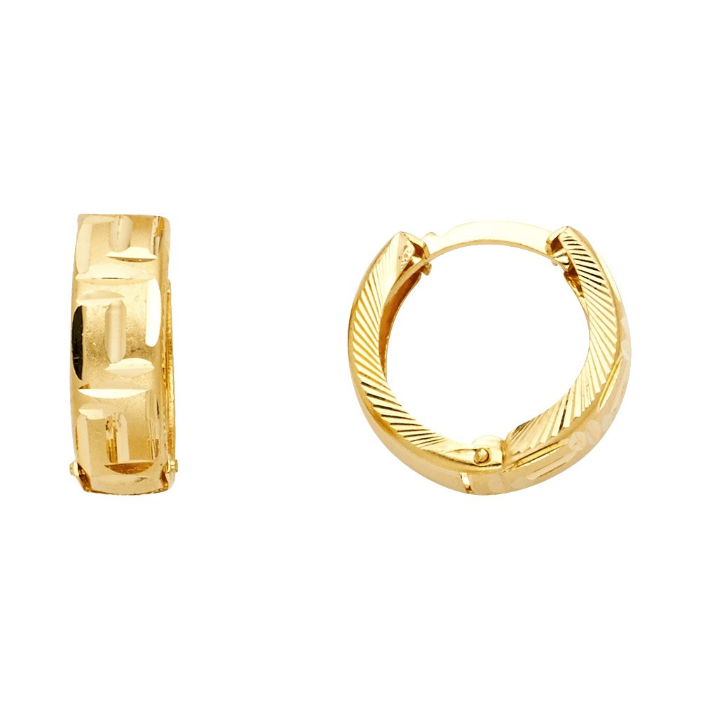 15mm Diameter 14k Yellow Gold 5mm Thickness Greek Key Huggie Hoop Earrings