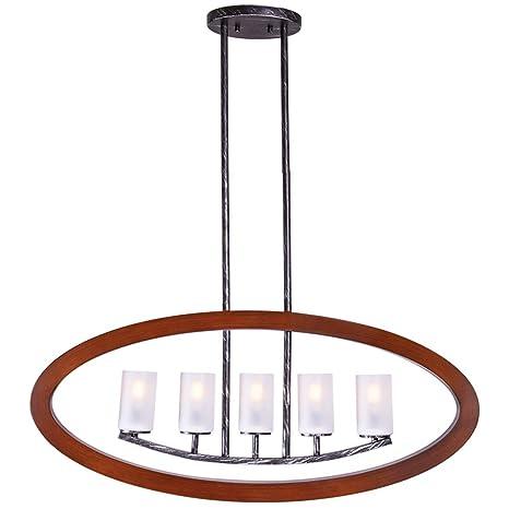 Wellmet Wood Frame 5 Light Matte Glass Candle Chandelier