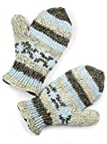 TCG Women's Hand Knit Wool Vintage Striped Mittens - Baby Blue & Pearl