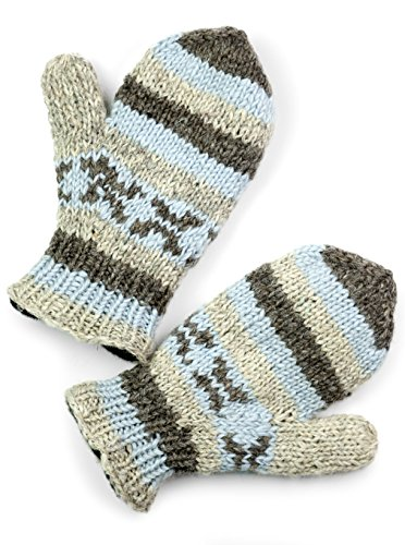 (TCG Women's Hand Knit Wool Vintage Striped Mittens - Baby Blue & Pearl)