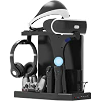 PlayStation Vertical Stand - ElecGear PS4 Charging Station, Cooling Fan Cooler, PSVR Headset Storage Holder, Charger Dock for DualShock & PS VR Move Motion Controller, 4Port USB Hub for PS4, Slim, Pro