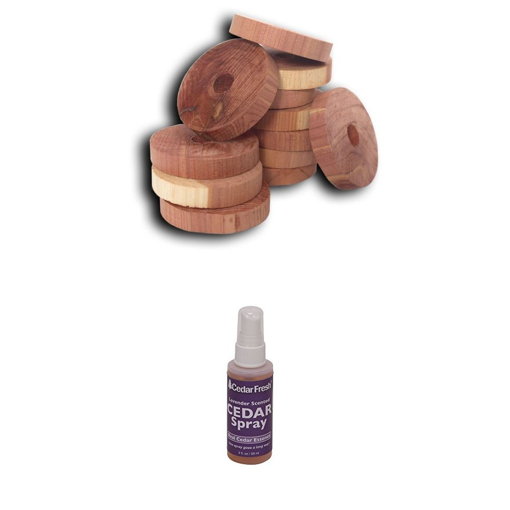 CedarFresh Red Cedar 20 Wood Rings and Lavender Spray | Protects Closets from Pests