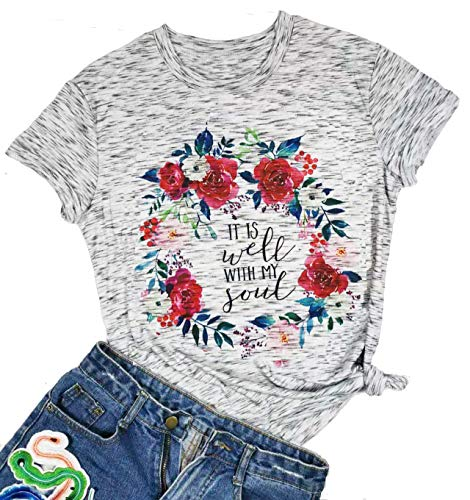 It is Well with My Soul Christian Letter Print T Shirt Women Short Sleeve O Neck Tops Tee (Medium, Gray)