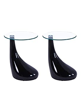 Goldfan Glass Coffee Table Morden High Gloss End Table Bedside