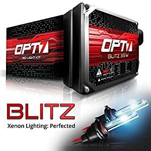 OPT7 Blitz HID Kit 3.5x Brighter - 4x Longer Life - All Colors and Sizes Simple DIY Install - 2 Yr Warranty - Bulbs and Ballasts [H11 H8 H9 - 8K Ice Blue Xenon Light]