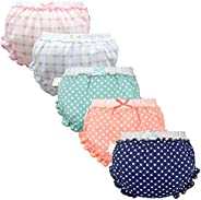 Guozyun Baby Girls Bloomers Newborn Infant Toddler Diaper Covers Kids Girls Cotton Briefs Underwear Set 0-4T