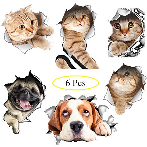 Jaxbo 3D Cats Dogs Wall Stickers - Realistic Cute Animal Door Wall Mural Removable Wallpaper Decals Posters for Kids Bedroom Ceiling Living Room Nursery (6 Pcs) ()