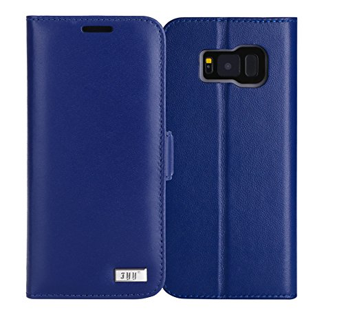 FYY Galaxy S8 Case,[RFID Blocking wallet] Premium Genuine Leather 100% Handmade Wallet Case Credit Card Protector for Samsung Galaxy S8 Navy Blue