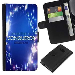 EJOY---La carpeta del tirón la caja de cuero de alta calidad de la PU Caso protector / HTC One M7 / --BIBLIA Romanos 08:37 Más que vencedor