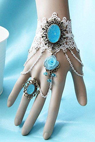 Generic Bridal_ wedding flowers _lace_ bracelet bangle _connected Ring chain ,_all-in-One_Christmas_ gift jewelry _