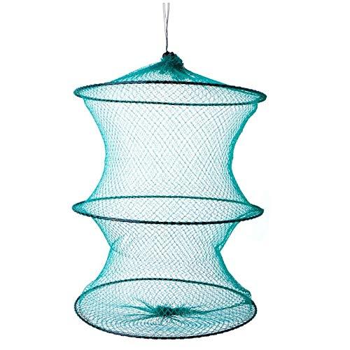 3 Rings Fishing Round Folding Metal Frame Net Nylon Mesh Care Creel Tackle - Hook Creel