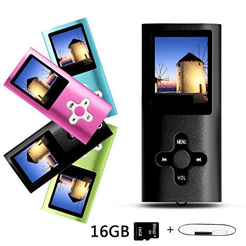 Btopllc Lecteurs MP3 16 Go Lecteurs MP3 MP4 Lecteur MP3 / MP4 Entrée audio numérique Musique compacte Musique Hi-Fi Lecteur MP3 Lecteur multimédia (noir)