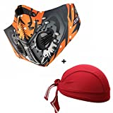 Activated Carbon Dustproof Mask Face Mask Filtration Exhaust Gas Anti Pollen Allergy PM2.5 Dust Mask Filter for Running Cycling and Other Outdoor Activities with Sport Cap (Orange)