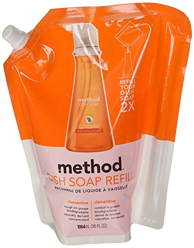 Method Dish Soap Pump Refill, Clementine, 36 Ounce