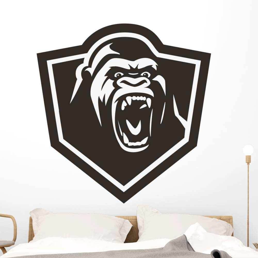 Wallmonkeys Gorilla Head Wall Decal Peel and Stick Animal Graphics (48 in H x 48 in W) WM497456
