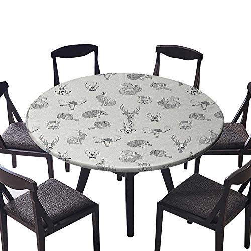 """Round Polyester Tablecloth Table Cover Illustration of Weird Forest Animals in Retro Style Rabbit Fox Dear Wild for Most Home Decor 50""""-55"""" Round (Elastic Edge)"""