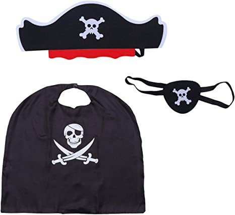 Amosfun 3 Piezas Disfraz de Pirata de Halloween Capa Sombrero ...