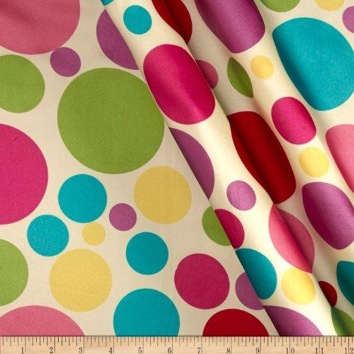 Charmeuse Satin Large Polka Dots Ivory/Mutli Fabric By The Yard - Mutli Apparel